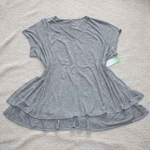 Decree V Neck Heathered Grey Shirt - NWT